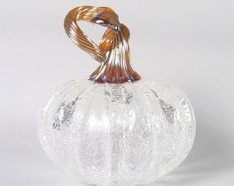 Hand Blown Glass Pumpkin with Gold Stem Luxury Home Decor by AvolieGlass