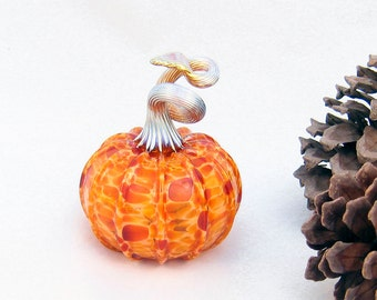 Halloween Decorations Blown Glass Pumpkin Orange Amber Harvest Fall Decor Woodland