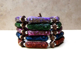 Bohemian Bracelet:  Colorful Beaded Bracelet, Mix and Match Stacking Flower Bracelet, Layering Jewelry