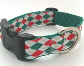 Preppy Holiday Argyle Dog Collar Red and Green Argyle