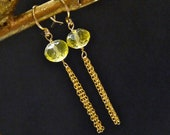 Lemon quartz earrings- Green yellow gemstone earrings- wire wrapped gold filled earrings, Valentine gift for her