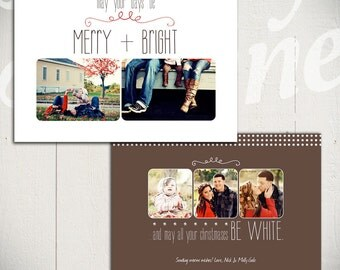 Christmas Card Template: White Christmas C - 5x7 Holiday Card Template for Photographers