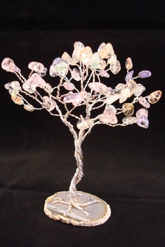 Centerpiece- Gemstone Tree, Wire Tree Sculpture, Silver, Pastel, Agate