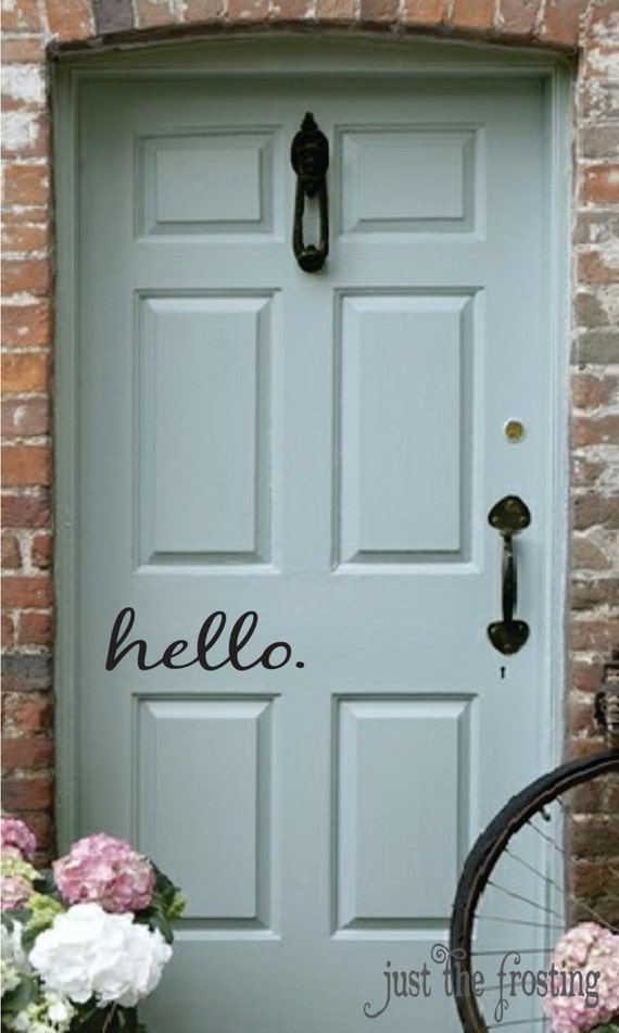Hello decal vinyl decal for your front door by for Door vinyl design