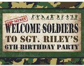 Army Men Welcome Sign - INSTANT DOWNLOAD - DIY Editable & Printable Party Decorations by Sassaby