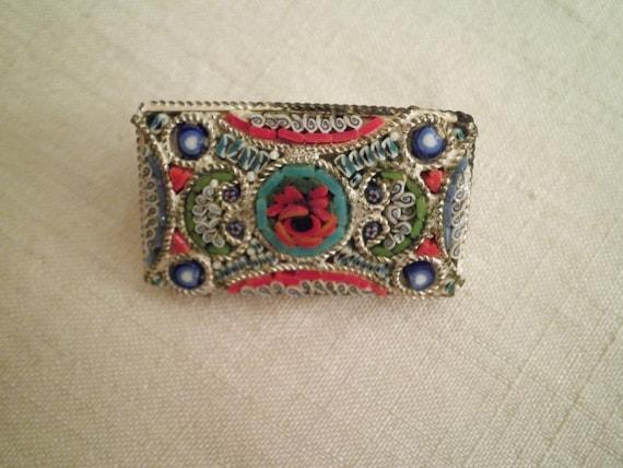 1950s Vintage Mille-Fleur Micro Mosaic Rectangular Pin