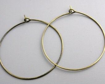 HOOP-AB-WINE-35MM - 35mm Antique Brass Hoop Earrings...20 pcs (10 pairs)
