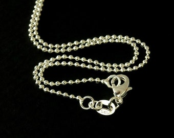 CHAIN-STLF-BALL-1MMx18MM - 1mm Sterling Silver Plated Ball Chain - 18 inches - 1 pc