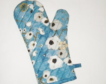 Oven Mitt - Poppies on Blue - Gallery Fiori - Gift for Foodie- Gift Under 20