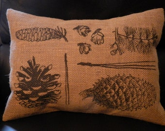 Botanical Pinecone Print Burlap Pillow Country Cottage Chic