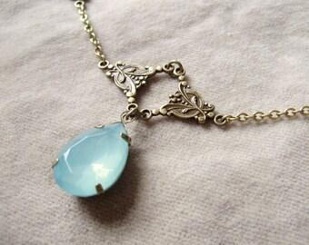 Renaissance aqua necklace - antique gold gift for her