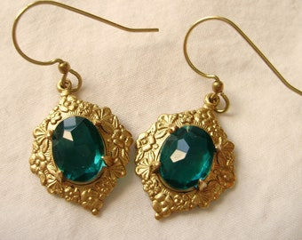 Emerald and gold earrings - St Patrick's day Slytherin women gift