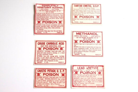 Antique Medicine Apothecary Pharmacy Labels (No.13) from 1890s (Set of 6 poison labels) - Paper Crafts, Altered Art, Halloween Decor