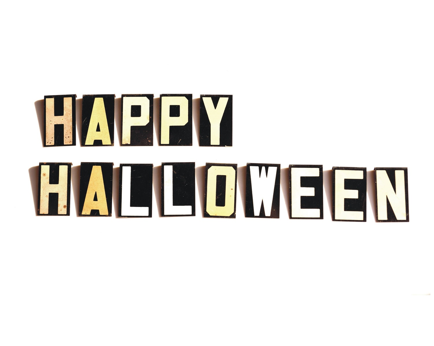 Vintage Metal Sign Letters Happy Halloween 2-1/2 by ThirdShift