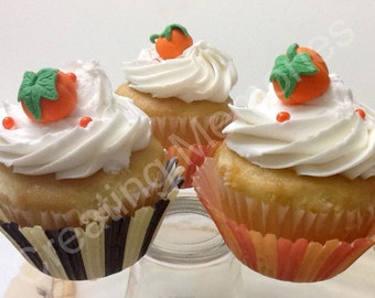 24  Mini Fondant 3D Pumpkin Mini-Cupcake  Toppers