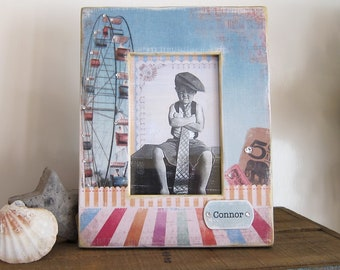 Baby Photo Frame Personalize Gift Idea Child Boy Girl Blue  Name Custom Carnival Circus Vacation Baby Decor