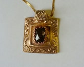 Handcrafted Bronze PMC Pendant with Natural Smoky Quartz Gemstone