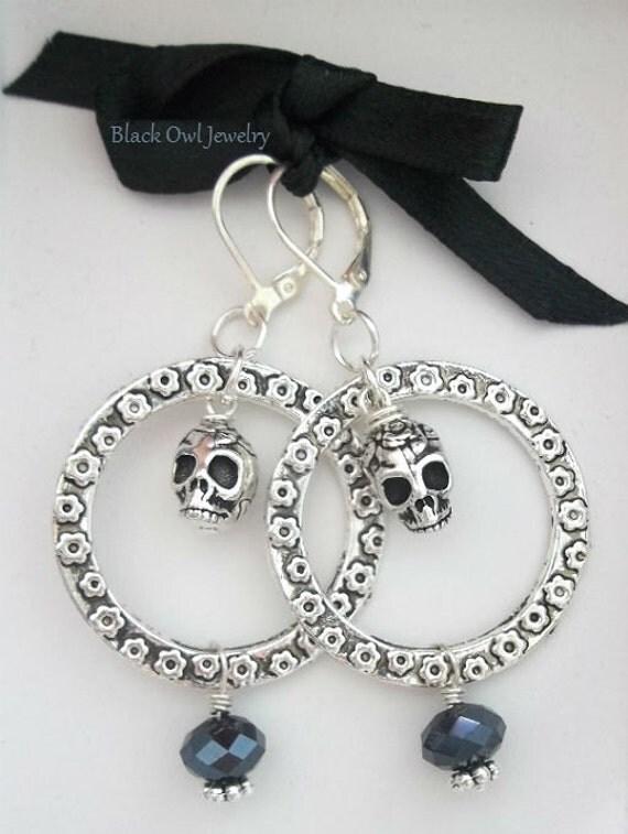 Skull & Crystal Earrings FOR JEANNIE KEENE