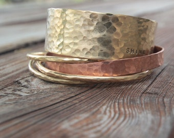 Personalized Bangle Bracelet FIVE Stacking CUFFS in Gold Dust and Soft Copper with Engraving Boho Winter Fashion Glitz Shimmer Hipster