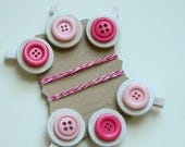 Children's Art Display...Set of 6 Mini Wooden Clothes Pins...Pink Buttons...Baker's Twine