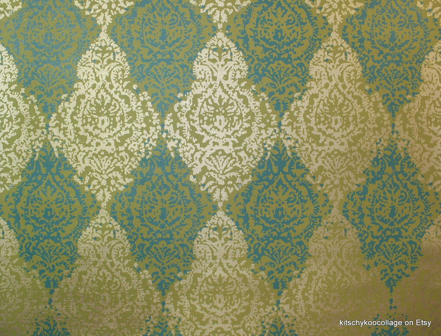 Classic Vintage Wallpaper: 1970's Vintage Wallpaper Retro Metallic Gold And Blue