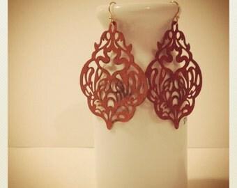 Indian Summer Sunset-Rust Patina Metalwork Earrings, Boho