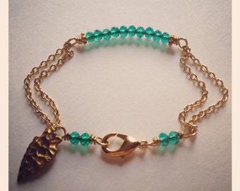 Native Bling-Gold and Crystal Chain Bracelet with Arrowhead Charm, TRIBAL, Stacking Bracelet