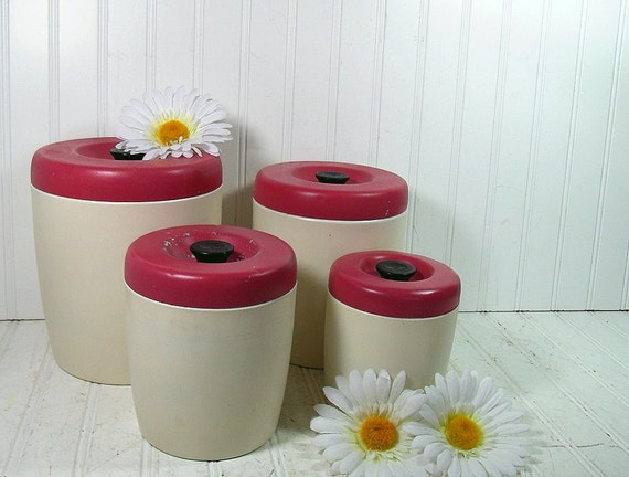 Vintage Raspberry & Cream West Bend Canisters - Retro Chippy Painted Spun Aluminum Set - Contemporary 8 Piece Collection