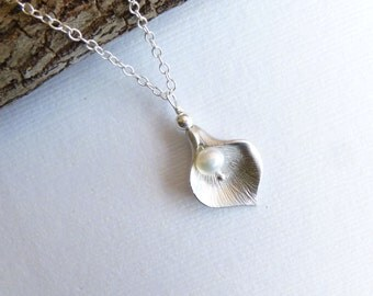 Silver Mini Calla Lily Necklace... with Freshwater Pearl and Sterling Silver Chain -- Bridesmaids Gift