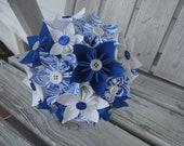 Blue Paper Flower Bouquet - Kusudama Origami