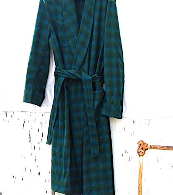 Morning coffee  rustic cabin robe men mom grandparent Vintage pendleton blue green wool retro mountain forest wear