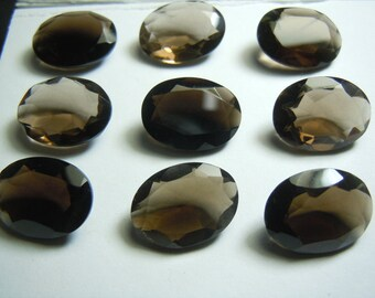 Smokey Quartz Gemstone Cut Stone Oval  size 13x18mm  9 Pc wholesale price