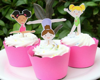 Gymnastics Party - Cupcake Toppers - Gymnast Girls - Cake Toppers - Cake Decoration - Gym Party Decor - Set of 12