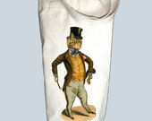 Victorian Cat with Top Hat and Cane Illustration Canvas Alcohol/Wine Gift Bag