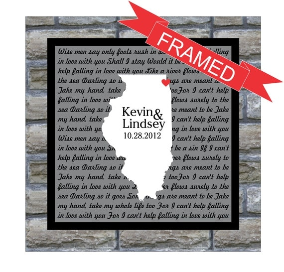 Personalized Song Lyrics FRAMED ART Wedding Gift Song Lyric Art Any Location Any Song Unique Wedding Gift Engagement Gift Anniversary Gift