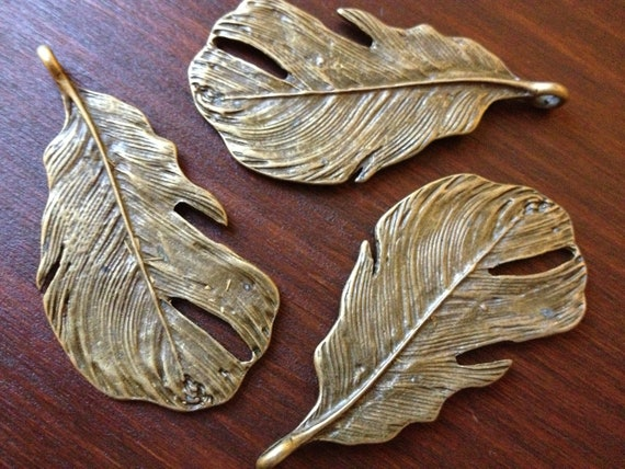 6 x Antique Brass Feathers Bronze Large Natural Feather Pendants