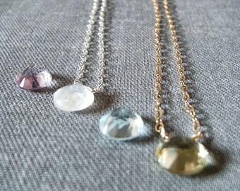 Strizzata Solitaire Necklace -Choose gem / 14K Gold Fill or Sterling / Choker lemon or blue topaz rose de france amethyst citrine prasiolite