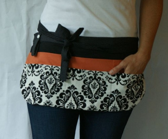 Utility Apron/Half Apron with 8 pockets and loop in black white damask and orange fabric
