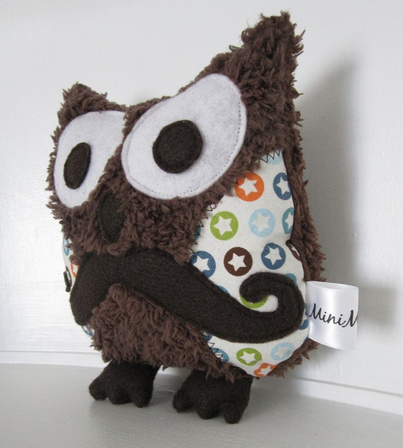FREE SHIPPING Mini Mr Mustache Hipster Owl Plush Softie Stuffed Animal Toy Brown Chocolate Stars Moustache Soft Fluffy Minky Gift