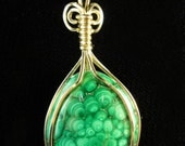 Malachite 12k Gold-Filled Wire Wrapped Pendant