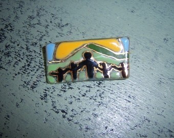 Handpainted Glass Brooch Pin Yellow Green Blue Gold