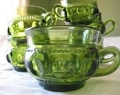 vintage green glass teacups set of 6/punch glasses mugs/christmas serving holiday entertaining