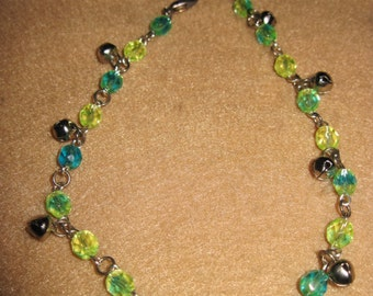 Springtime Jingle Bell Anklet w/ Czech Faceted Cut Beads..Blue & Yellow...1 of a kind....1383h