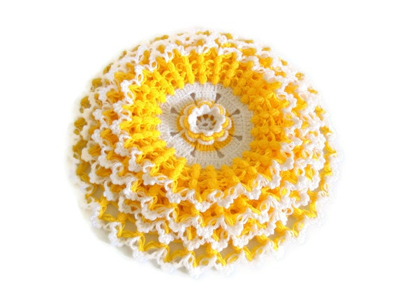 Handmade  Crochet Dishcloths Washcloths, gift, mothers day,  yellow and white, unique