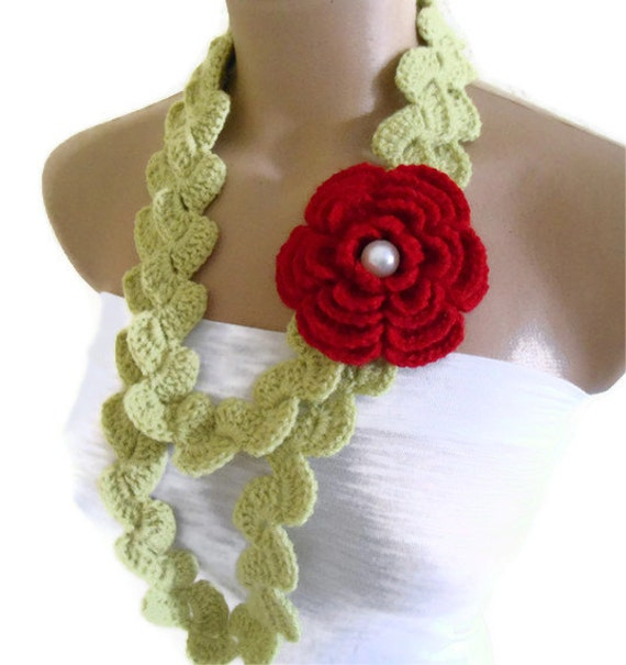 valentines day, Crocheted Lariat Necklace,Holiday Accessories,gift, winter trends, fashion, 2012