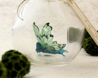 Fairy Bottle - Marsh Light Faerie, Dark Teal with Pale Green wings MADE TO ORDER