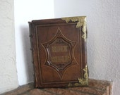 RESERVED FOR ANGELA - Antique Leather Unmarked Brown's Family Bible Ornate Brass Corners and Clasps 1870s