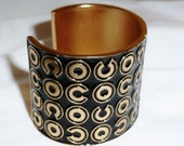 Vintage AUTHENTIC CHANEL Large ENAMELD Cuff  Coco Stunning Large Rare