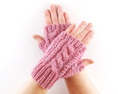 Dusky Blush Rose Pink Fleck Aran Arm Warmer Gloves with Cable Design. Short Arm Warmers. Fingerless Gloves.