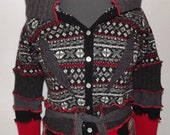 Red and Black Licorice  Sweater Coat